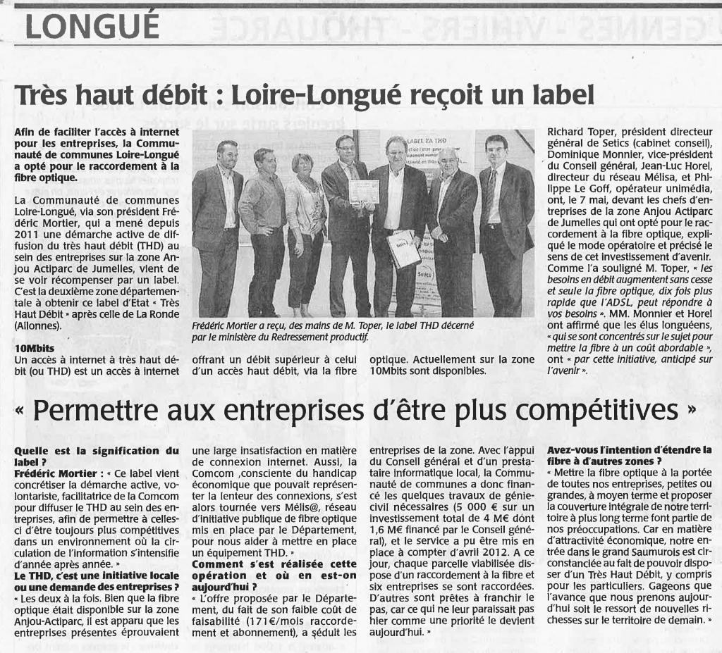 Article de presse Courrier de l'Ouest Mai 2013